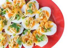 Zachte Gekookte Eieren Kruidige Salade stock foto