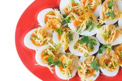 Zachte Gekookte Eieren Kruidige Salade stock fotografie