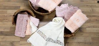 Zachte handdoekbadstof Stock Afbeeldingen