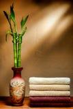 Zachte Katoenen Handdoeken en de Aziatische Vaas van het Bamboe in een Kuuroord Royalty-vrije Stock Afbeeldingen