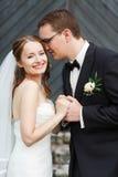 Zachte modieuze sgroom en bruidholdingshanden en het glimlachen op stock foto's