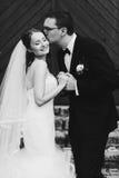 Zachte modieuze sgroom en bruidholdingshanden en het glimlachen op stock afbeelding