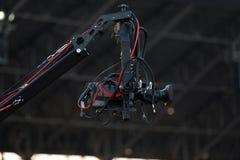 Zachte nadruk en onscherp van Professionele cameraman en Videocamera stock fotografie