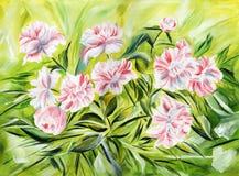 Zachte pioenen. Olieverfschilderij op canvas. Stock Afbeelding