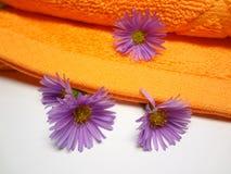 Zachte pluizige handdoek stock afbeeldingen