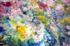 Zachte purpere roze geelgroene uitstekende kleuren, verfachtergrond, tinten, de achtergrond van de waterverfverf stock illustratie