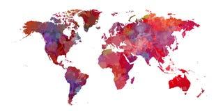 Zachte roodachtige wereldkaart met rode vlekken stock illustratie