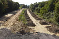 Zachte steenkool - vroeger Autobahn A4 dichtbij Merzenich Royalty-vrije Stock Foto's