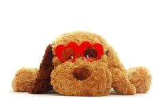 Zachte stuk speelgoed hond met Reg. hart-vormige glazen op whit Stock Foto's