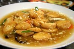 Zachte tofu met paddestoel Stock Foto