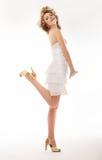 Zachwyca, radość - moda czeka w ślub sukni fotografia stock