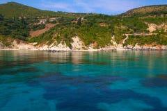 Zacinto, Grecia - caverne blu incredibili su una linea costiera Fotografia Stock Libera da Diritti