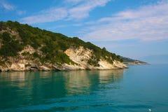 Zacinto, Grecia - caverne blu incredibili su una linea costiera Immagine Stock Libera da Diritti