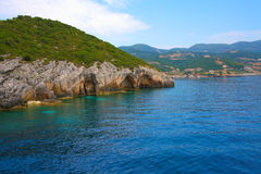 Zacinto, Grecia - caverne blu incredibili su una linea costiera Immagine Stock