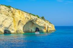 Zacinto, Grecia - destinazione blu di stupore di viaggio delle caverne Immagine Stock Libera da Diritti
