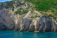Zacinto, Grecia - destinazione blu di stupore di viaggio delle caverne Immagine Stock