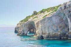 Zacinto, Grecia - destinazione blu di stupore di viaggio delle caverne Fotografie Stock Libere da Diritti