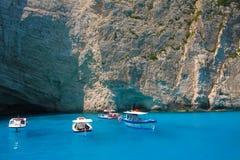 Zacinto, Grecia - spiaggia blu di Navagio Immagine Stock