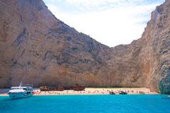 Zacinto, Grecia - spiaggia incredibile di Navagio Fotografia Stock