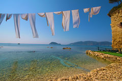 Zacinto, Grecia - vista all'isola di Marathonisi Fotografia Stock Libera da Diritti