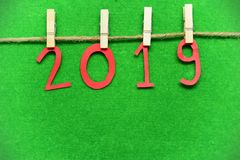 2019 zaciska drewnianych klamerek na trawy zieleni tle Fotografia Royalty Free