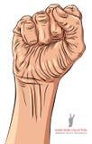 Zaciskająca pięść trzymał wysokość w protestacyjnym ręka znaku, szczegółowy wektor il Obrazy Stock