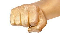 zaciskający palców pięści złoto obrazy stock