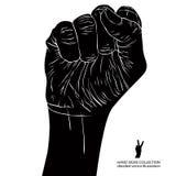 Zaciskająca pięść trzymał wysokość w protestacyjnym ręka znaku, szczegółowy czarny i Zdjęcia Royalty Free