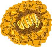 Zaciskający pięści łamania Ceglany Kamienny Ścienny rysunek Zdjęcie Royalty Free