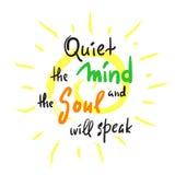 Zaciszność umysł i dusza mówi - inspiruje i motywacyjna wycena Ręka rysujący piękny literowanie Druk dla inspiracyjnego po ilustracji
