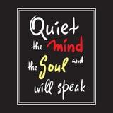 Zaciszność umysł i dusza mówi - inspiruje i motywacyjna wycena Ręka rysujący piękny literowanie Druk dla inspiracyjnego po ilustracja wektor
