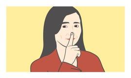 Zaciszność zadawala z palcem, shhh, i nosa robić shush dźwięka royalty ilustracja