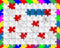 6 zackiges Drop-Down-Puzzlespiel 2013 - 2014 - Ihr Text Lizenzfreie Stockfotografie