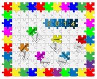 7   Zackiges Drop-Down-Puzzlespiel 2014 - Wunschdenken Stockfotos