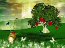 zaczarowane wzgórza natury serie truskawkowe ilustracja wektor