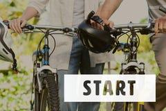 Zaczyna ikonę przeciw rower fotografii Obraz Royalty Free