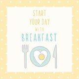 Zaczyna twój dzień z śniadanie kartą Obrazy Royalty Free