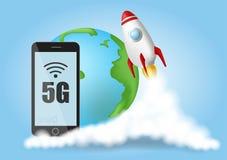 Zaczyna up rakiet? Dymne chmury Sieci bezprzewodowej prędkości pojęcie, 5G ewolucja Globalny na b??kitnym tle Realistyczny wektor ilustracji