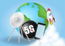 Zaczyna up rakiet? Dymne chmury Sieci bezprzewodowej pr?dko?ci poj?cie, 5G ewolucja Globalny na b??kitnym tle Realistyczny wektor ilustracji