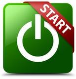 Zaczyna władzy ikony zieleni kwadrata guzika Obrazy Stock