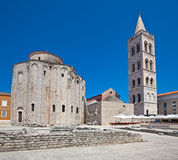 Zadar. St. Donatus church, 9th century, The Early Medieval Period. Roman time  ruins in front Royalty Free Stock Photo