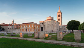 Zadar ancient forum panorama at sunset, Croatia Stock Photos