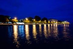 Zadar bis zum Nacht Stockbild