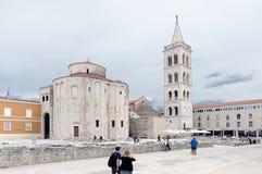 Zadar. Church of St Donat. ZADAR, CROATIA - MAY 21, 2013: Tourists walking near the church of St Donat in Zadar, Croatia. On May 21, 2013, in Zadar, Croatia Stock Photos
