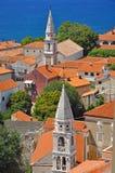 Zadar churches. Vertical churches of ancient churches towers in Zadar, Croatia royalty free stock photo