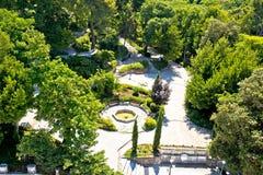 Zadar cinq puits ajustent et vue aérienne de parc vert image libre de droits