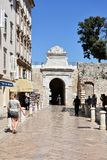 Zadar city wall. Opening  in the ancient city wall, entrance for pedestrians to the city of Zadar Royalty Free Stock Photos