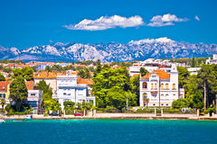 Zadar coast villas ann Velebit background Stock Photos