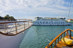 Zadar, Croatia - harbor with ferry and cruise ships Royalty Free Stock Photos