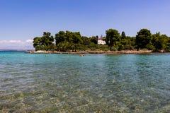 Transparent blue waters Croatia Ugljan. Zadar, Croatia - July 24, 2018: Scenic view of the transparent green-blue waters of Ugljan island royalty free stock photo